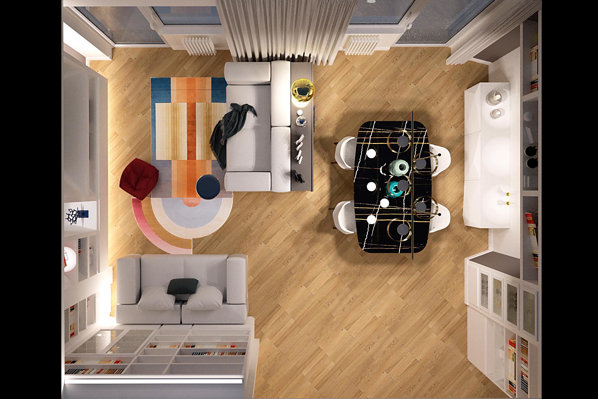 vista dall'alto soggiorno_architetto roma ristrutturazione